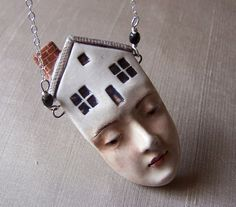 Thoughts of Home | Porcelain Pendant on Sterling Silver chain. Handmade by Felicia Nilson