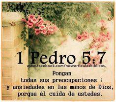 Pongan todas sus preocupaciones y ansiedades en las manos de Dios, porque él cuida de ustedes.