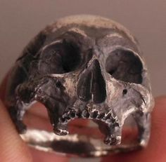 skull ring - into the fire - sterling silver mens skull ring biker ro