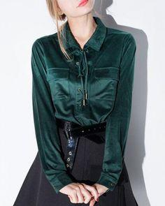 Green lace up tops for women plain long sleeve deerskin shirt