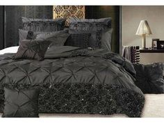 With sharp pintuck & sequins embroidery, the Samania Black quilt cover set is the ultimate in bedroom impression Lace Bedding, Black Duvet Cover, Queen Size Quilt, Luxury Bedding Sets, Quilt Cover Sets, Black Quilt, Good Night Sleep, King Size, Bed Sheets