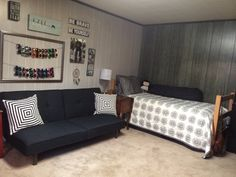 I felt that this year my bedroom was Pinterest worthy. Super classy, stylish, and relaxing! Black and white with an accent of red! Came out great considering the condition of the room when I first started! Junior year, here I come!
