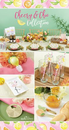 24f628d75149 Glassware and decorations are accentuated with a citrus appeal for a bridal  shower or simply bringing a sunny theme to your party.
