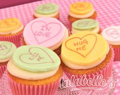 These candy heart conversation Valentine's Day-themed cupcakes are by Dorset, UK-based Lulubelle's Cakes.