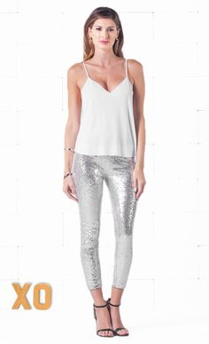 Indie XO Silver Sequin Sequins Sequined Stretch Elastic Waist Cropped Leggings Pants - Just Ours!