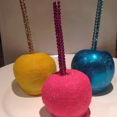 Happy birthday Collection Glam apples Yellow-sanding sugar Hot pink-sanding sugar Electric Blue-Disco Dust