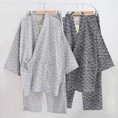 New Men Pajama Set Home Bath Shower Kimono Casual Cotton Sleepwear Loungewear Comfy Male Yukata Pijama Nightwear