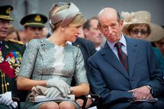 Queen Maxima of the Netherlands and Prince Edward, Duke of Kent attend the official commemoration ceremony of the bicentenary of the Battle of Waterloo at the Lion's Mound in Braine-l'Alleud near Waterloo, Belgium on June 18, 2015
