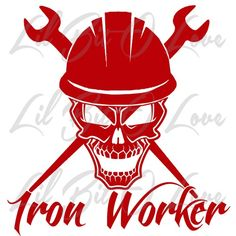 Iron Worker Skull in Hard Hat with Crossed Spud Wrenches Vinyl ...