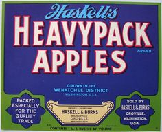 HASKELL'S HEAVYPACK Vintage Oroville Apple Crate label, blue