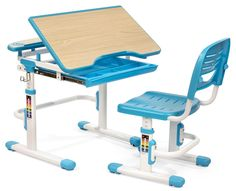 Children's Desk and Chair, Tilt & Height Adjustable, Rectangle, Slide Out Tray - Blue