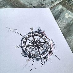 Compass and waves tattoo watercolor trash polka modern wave