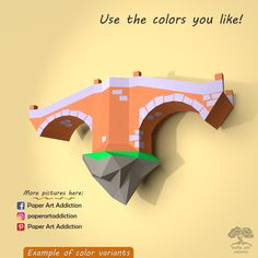 Have fun and also decorate your home. Spend time with beloved family or friends and make your own low poly Bridge Sculpture. Improve your wall decor with our PDF Pattern. It´s a lot of fun for kids as well as adults... and you can do this origami with your own hands.  📐 DIMENSIONS ● Height: 24.2 cm / 9.5 in ● Width: 40.0 cm / 15.7 in ● Depth: 14.6 cm / 5.7 in  #paperart #papercraft #walldecor #lowpoly #pdftemplate #DIY #3Dpaper #bridge #sculpture #model #fantasy #floating #village #etsyshop… Paper Glue, Paper Art, Paper Crafts, Lemon Green Colour, Arch Bridge, Art Addiction, Small Sculptures, Paper Models, Low Poly