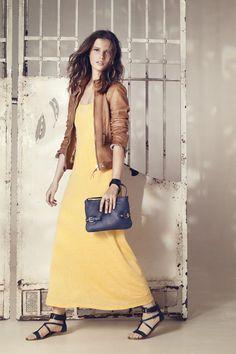 Yellow  maxi dress and gorgeous caramel leather jacket
