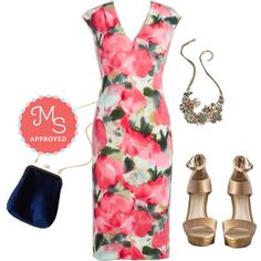Sheath and Every Time Dress, Had a Fab Day Bag, Vow to Wow Necklace, Ramble Wedge #floral #weddingwear #springtrend #fashionset #ModCloth #ModStylist