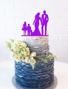 Curvy Bride and Groom Silhouette Wedding Cake by 1TheCherryOnTop