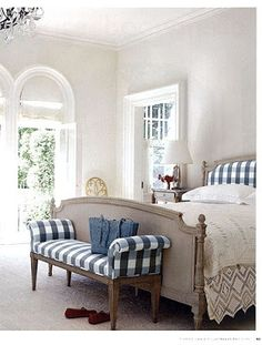blue gingham bench & headboard