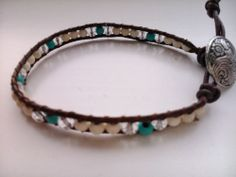 Handcrafted Leather & Gemstone Single Wrap Bracelet  - Howlite/Turquoise/Crystal