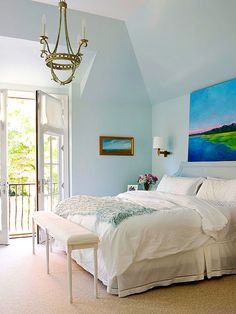 Oceanside Color Scheme in a Bedroom.  Browse more Bedrooms at Completely Coastal: http://www.completely-coastal.com/search/label/Bedrooms  #bedrooms #coastal