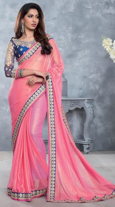 Fantastic Pink Bridesmaid Saree With Blue Embroidered Blouse