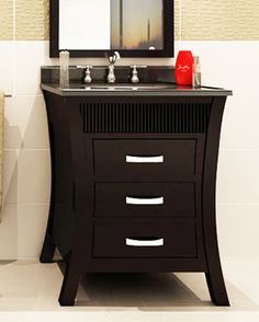 Want to update your bathroom, but don't have a lot of extra space? Check out our list of 20 amazing small bathroom vanities that more than make up for their small size with BIG style! 24 Inch Bathroom Vanity, Small Bathroom Vanities, Bathroom Renos, Bath Vanities, Bathroom Ideas, Bathroom Remodeling, Remodeling Ideas, Bathrooms, Small Bathtub