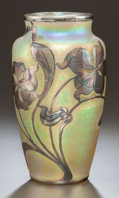 LOETZ ART NOUVEAU SILVER OVERLAY IRIDESCENT GLASS VASE. Circa | Lot #89169 | Heritage Auctions