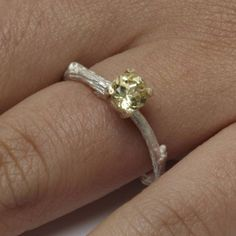 Twig Solitaire Ring   Michelle Oh