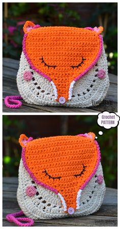 Crochet pattern - Owl purse by VendulkaM - crochet bag pattern, digital, DIY, pdf Crochet Handbags, Crochet Purses, Crochet Hats, Crochet Fox, Crochet Flamingo, Crochet Shell Stitch, Free Crochet, Fox Purse, Mercerized Cotton Yarn