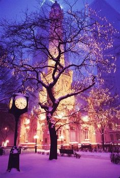 Snowy Night, Chicago, Illinois gotta love the beauty of the water tower ❤️