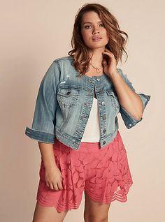 Plus Size Cropped Collarless Denim Jacket