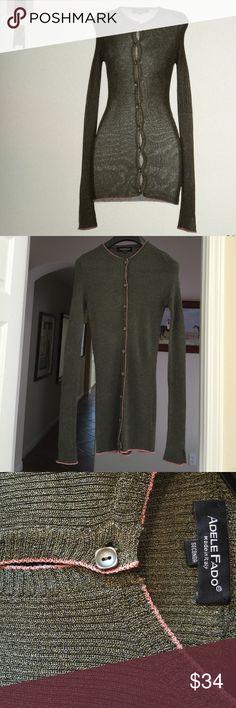Adele Fado Cardigan Green Cardigan, size 2, lightweight, 78% Acetate/12% Polyester/10% Nylon, new condition, color:military green Adele Fado Sweaters Cardigans