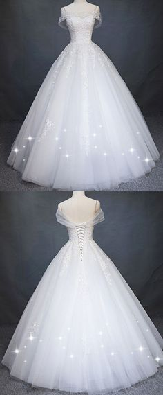 Attractive Tulle Off-the-shoulder Neckline A-Line Wedding Dress With Beaded Lace Appliques #weddingphotography