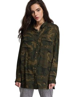 afe6fab5e87f3 Escalier Women's Button Down Shirt Long Sleeve Causal Blouse with Pocket  Camouflage Coat, Camouflage Fashion
