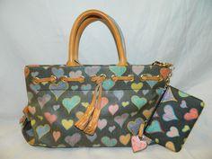 Dooney & Bourke multi color Heart Shoulder Bag w/ matching coin purse #DooneyBourke #Vintage