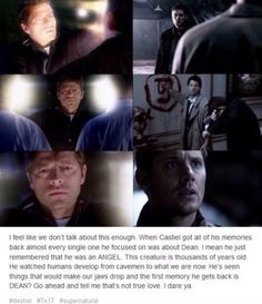 when Castiel got his memories back (Destiel) <<< and not only that but one where he betrayed dean. When Cas hurt Dean and it killed him finding out again Supernatural Destiel, Decimo Doctor, Spn Memes, Silly Memes, Lgbt, Super Natural, Misha Collins, Superwholock, Twitter