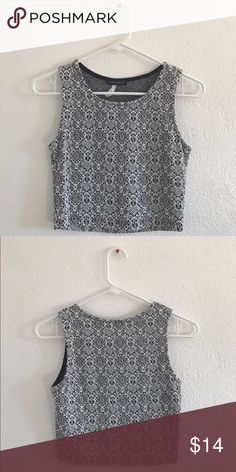 Urban Outfitters printed crop top Fitted crop top! Super cute to wear wth high waisted shorts or pants! It's not too crop! Urban Outfitters Tops Crop Tops