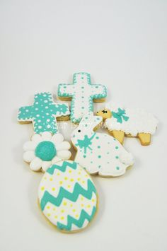 1/2 dozen Christian - Faith - He is Risen - Easter Decorated Iced Sugar Cookies - Lamb - Spring - Rabbit - Easter Bunny - Cross - Easter Egg