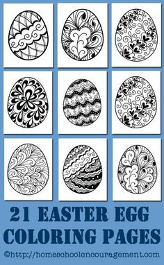 Easter Egg Coloring Pages: Free Printables - beautiful easter eggs. Easter crafts for kids.: