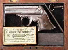 """A Cased REMINGTON-ELLIOT Pepperbox Deringer, circa. 1863-1888. A Cased REMINGTON-ELLIOT Pepperbox Deringer, circa. 1863-1888. SN# 10362. 3 3/8"""".32 caliber (4)… / MAD on Collections - Browse and find over 10,000 categories of collectables from around the world - antiques, stamps, coins, memorabilia, art, bottles, jewellery, furniture, medals, toys and more at madoncollections.com. Free to view - Free to Register - Visit today. #Weapons #Guns #MADonCollections #MADonC"""