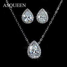 Asqueen branco banhado a ouro conjuntos de jóias pavimentada AAA CZ diamante água gota pingente colar e brincos para mulheres Bijoux AUS0008(China (Mainland))