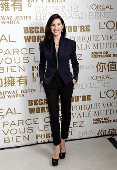 Julianna Margulies stylish in blue jacket, black trousers and Sergio Rossi pumps
