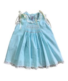 Look what I found on #zulily! Aqua Voile Ribbon Dress - Infant by Orient Expressed #zulilyfinds