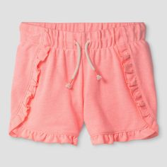 Girls' Ruffle Knit Shorts Cat & Jack - Coral L, Sunrise Coral