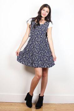 Vintage 90s Dress Navy Blue Liberty Floral Print Overalls Pinafore Jumper Dress 1990s Soft Grunge Babydoll Dress Ditsy Lolita M L Large XL #1990s #90s #soft #grunge #babydoll #mini #dress #overalls #floral #etsy #vintage