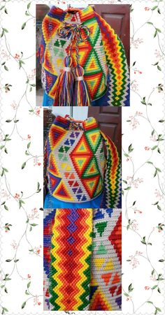 handmade mochila wayuu  crochetbag Tapestry Bag, Tapestry Crochet, Beautiful Swan, Plastic Canvas Patterns, Crochet Projects, Purses And Bags, Knitting, Crafts, Tricot