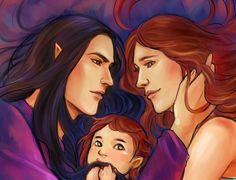 Feanor, Nerdanel, and baby Maedhros (so cute!).
