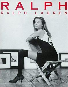 bridget hall in a Ralph by Ralph Lauren ad showing the thigh-high look, popular in the 1990s.