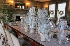 The buffet was set up on this long dining table in the brown room.  The top of the table was covered with a long paper runner painted with a silver faux bois finish // Martha Stewart: My Holiday Brunch - Part One