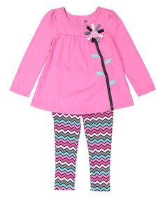 Another great find on #zulily! Pink Floral Tunic & Zigzag Leggings - Infant…