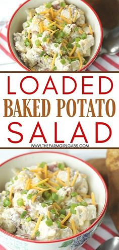 Ready to kick off barbeque season? A salad or two is essential. This easy loaded baked potato salad recipe is the delicious twist on the classic potato salad. This creamy potato salad recipe is filled with favorite baked potato toppings like cheese and bacon! Baked Potato Toppings, Loaded Baked Potato Salad, Creamy Potato Salad, Picnic Foods, Picnic Recipes, Lunch Recipes, Making Baked Potatoes, Classic Potato Salad, Healthy Vegetable Recipes